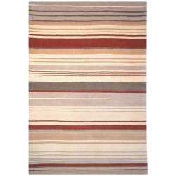 Hand-knotted Lexington Stripes Beige/ Rust Wool Rug (4' x 6')
