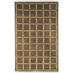 Hand-knotted Lexington Plaid Soft Green Wool Rug (6' x 9')
