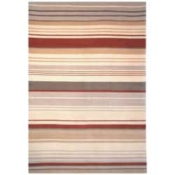 Hand-knotted Lexington Stripes Beige/ Rust Wool Rug (7'6 x 9'6)