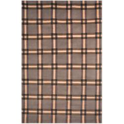 Safavieh Hand-knotted Lexington Plaid Grey Wool Rug (5' x 8')