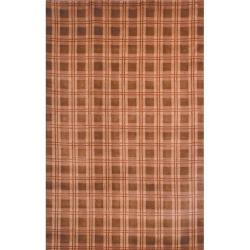 Safavieh Hand-knotted Lexington Plaid Beige Wool Rug (7'6 x 9'6)