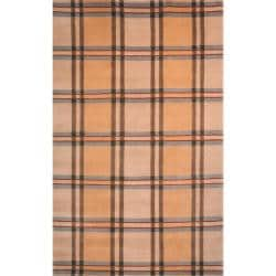 Hand-Knotted Lexington Beige Plaid Indoor Wool Rug (7'6