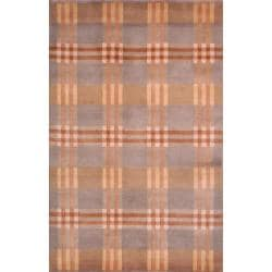 Hand-knotted Lexington Plaid Multi Wool Rug (7'6 x 9'6)