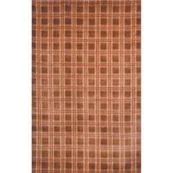 Hand-Knotted Lexington Plaid Beige Contemporary Wool Rug (6' x 9')