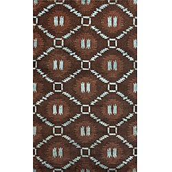 """Hand-Knotted Luna Nepalese Brown/Turquoise New Zealand Wool Rug (7'6"""" x 9'6"""")"""