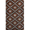 "Hand-Knotted Luna Nepalese Brown/Turquoise New Zealand Wool Rug (7'6"" x 9'6"")"