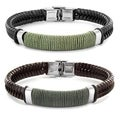 Crucible Stainless Steel Brown or Black Leather Bracelet with Wrapped Twine Center