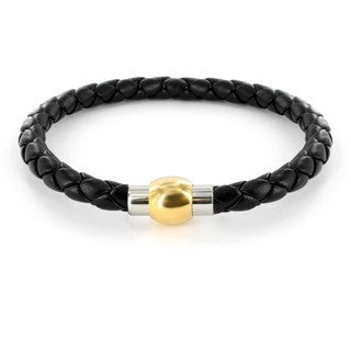 Crucible Stainless Steel Black Imitation Leather Braided Bracelet