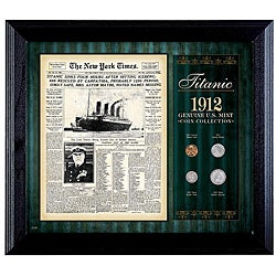 American Coin Treasures Wooden Titanic Plaque with Four US Coins
