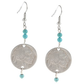 American Coin Treasures Buffalo Nickel Turquoise Earrings