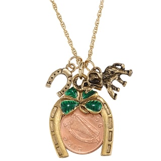 American Coin Treasures Irish Penny Coin Lotto Charm Pendant on 24-inch Rope Chain Necklace