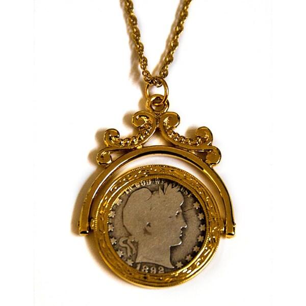 American Coin Treasures Goldtone Silver Barber Quarter Spinner Necklace