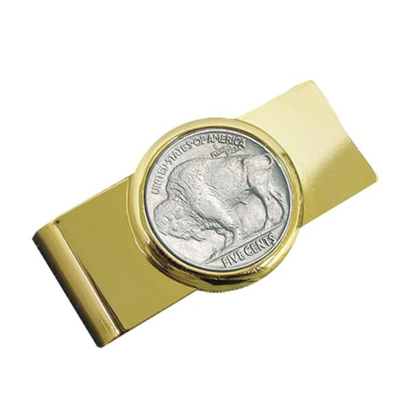 American Coin Treasures Goldtone Genuine Buffalo Nickel Coin Moneyclip