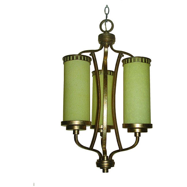 Maestro 3-light Hand-painted Silver and Gold Leaf Chandelier