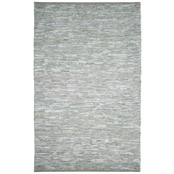 Hand-woven Matador White Leather Rug (9' x 12')