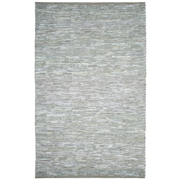 Hand-woven Matador White Leather Rug (9' x 12')
