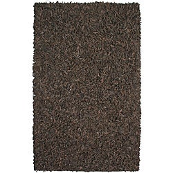 Hand-tied Brown Leather Rug (2'6 x 4'2)