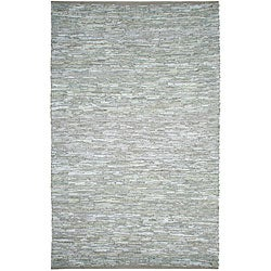 Hand-woven Matador White Leather Rug (8' x 10')