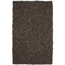Hand-tied Brown Leather Rug (8' x 10')