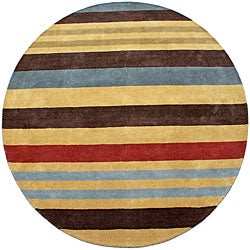 Hand-tufted Cosmo Striped Wool Rug (8' Round)