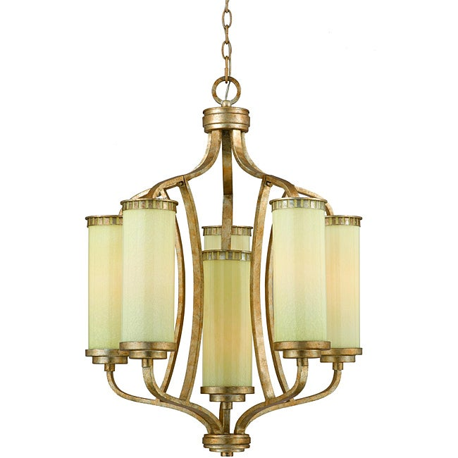 Maestro Silver and Gold Leaf 6-light Chandelier