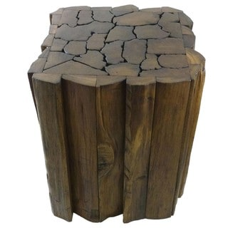 Reclaimed Teak Wood Jigsaw Stool/ Accent Table (Thailand)