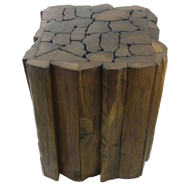 Reclaimed Teak Wood Jigsaw Stool/ Accent Table (Thailand)
