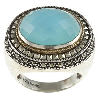 Sterling Silver Blue Chalcedony and Marcasite Cocktail Ring