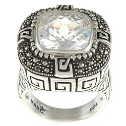 MARC Sterling Silver Clear Cubic Zirconia and Marcasite Cocktail Ring
