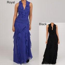 Issue New York Women's Halter Ruffle Long Evening Dress
