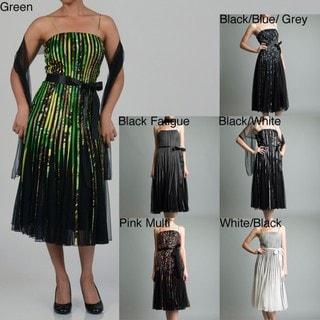 Issue New York Women's Printed Ribbon Evening Dress