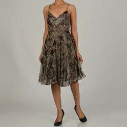Issue New York Women's Printed Short Evening Dress with Beaded Detail