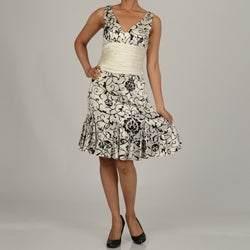 Issue New York Women's Black/ White Printed Cinch Waist Dress