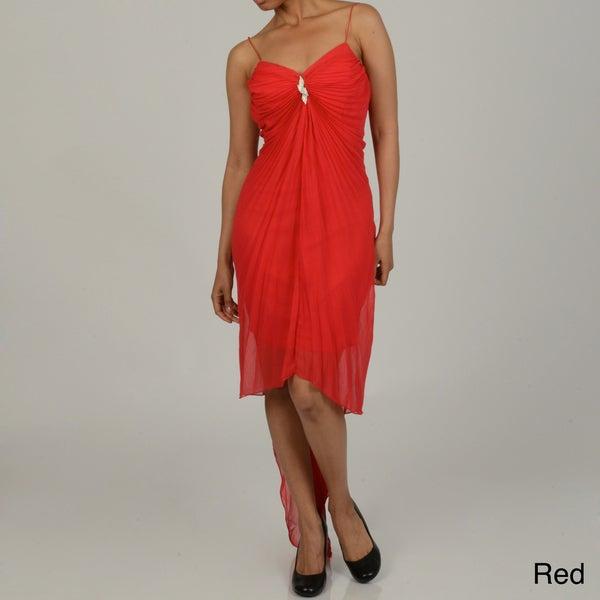 Issue New York Women's Rhinestone Detail Pleated Evening Dress