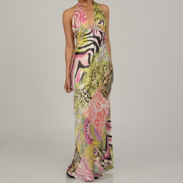 Issue New York Women's Animal/ Floral Print Silk Halter Maxi Dress
