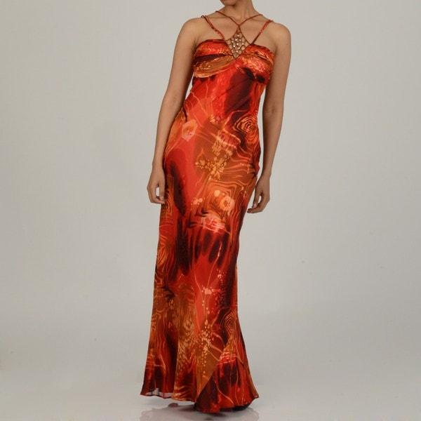 Issue New York Women's Red Burnout Silk Rhinestone-insert Evening Dress