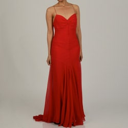 Issue New York Women's Red Silk Chiffon Cinched Sweetheart Bodice Evening Dress