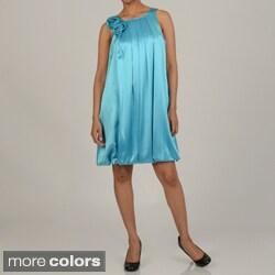 Issue New York Women's Rose Embellished Short Bubble Evening Dress