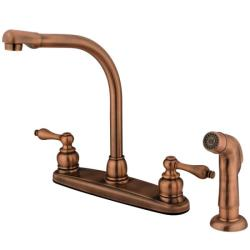 High Arch Antique Copper Kitchen Faucet with Sprayer