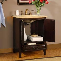 Silkroad Exclusive Travertine Top 27-inch LED Light Single Sink Bathroom Vanity Cabinet