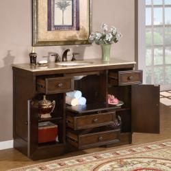 Silkroad Exclusive Travertine 48-inch Countertop Single Sink Bathroom Vanity Cabinet
