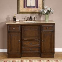 Silkroad Exclusive Travertine 48-inch Countertop Single Sink Bathroom Vanity Cabinet