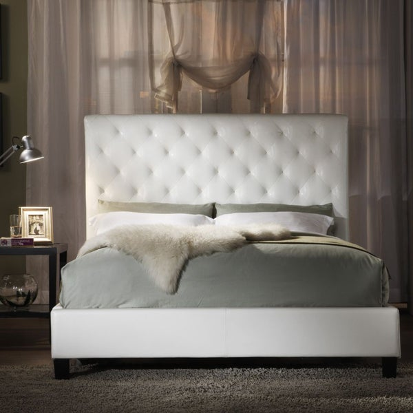 White Faux Leather Queen Bed 600 x 600