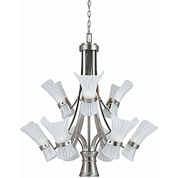Bali Brushed Steel 9-light Chandelier