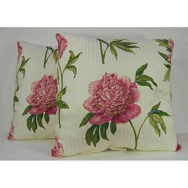 Ashton Peony Raspberry Decorative Pillows (Set of 2)