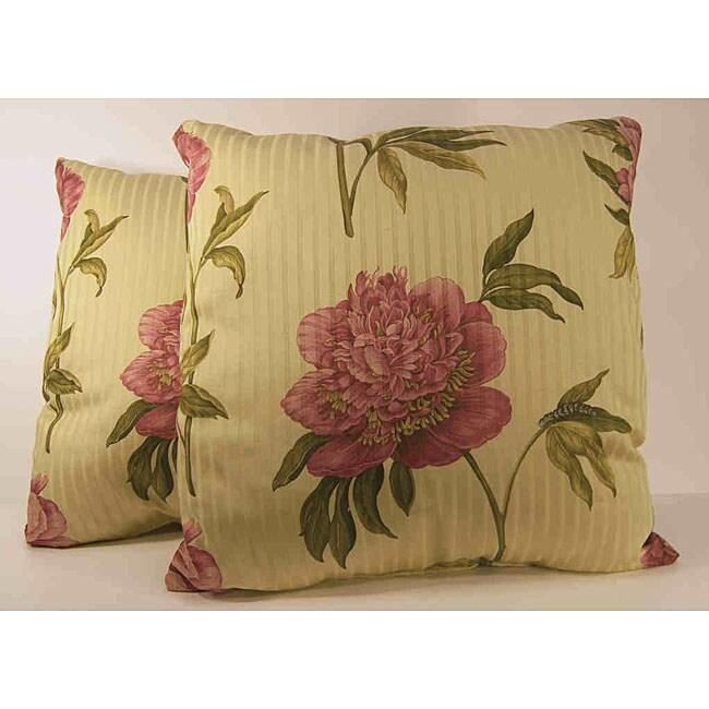 Ashton Peony Floral Decorative Pillows (Set of 2)