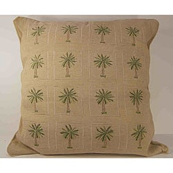 Embroidered Palm Tree Decorative Pillow