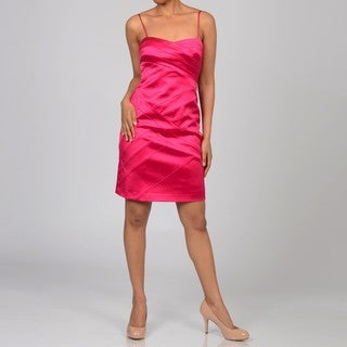 Decode 1.8 Women's Fuchsia Pleated Bodice Dress