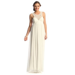Decode 1.8 Womens Long Ivory Social Dress