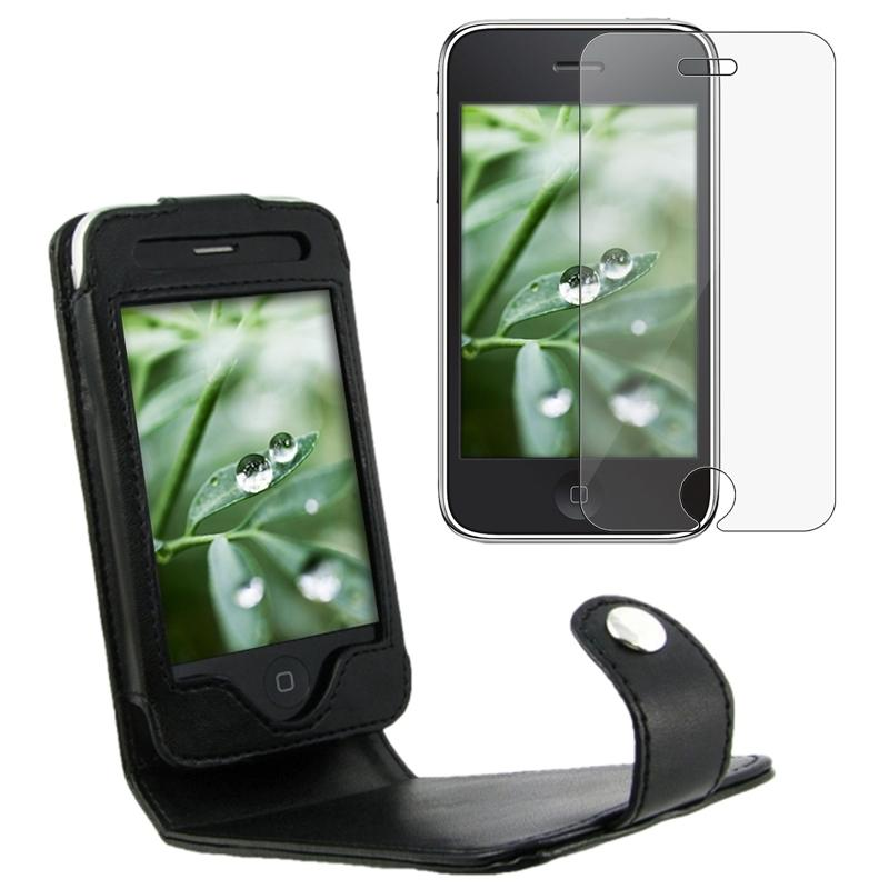 INSTEN Leather Phone Case Cover with Belt Clip/ Screen Protector for Apple iPhone 3G/ 3GS